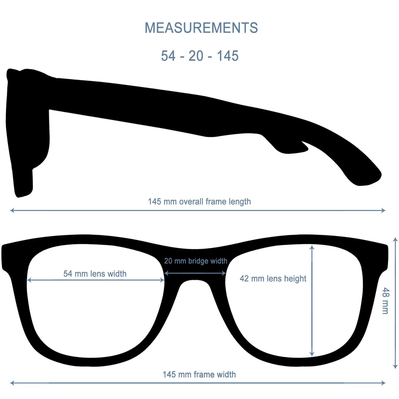 Los Angeles wayfarer style sunglasses size