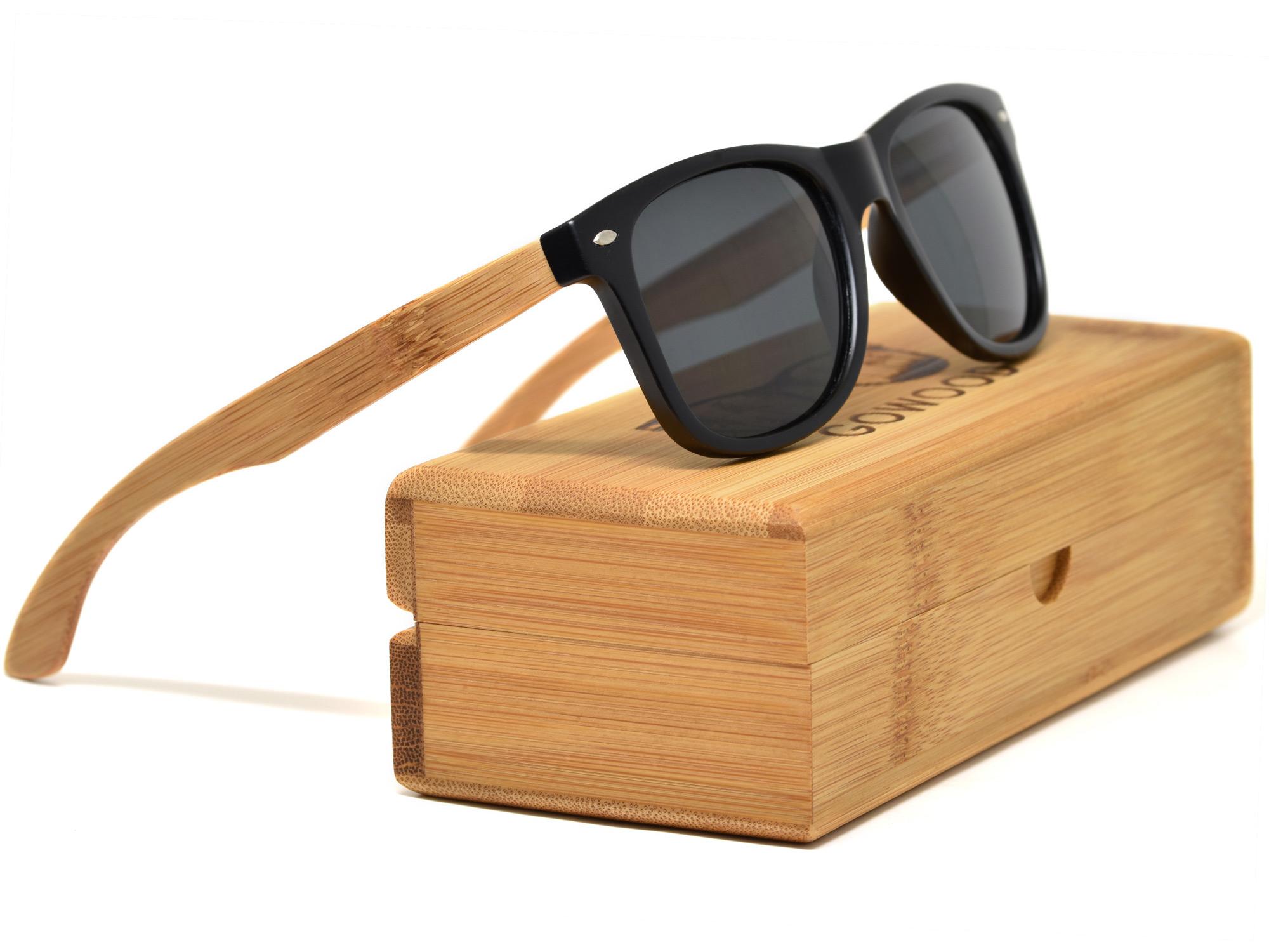 Bamboo wood sunglasses wayfarer style with black polarized lenses