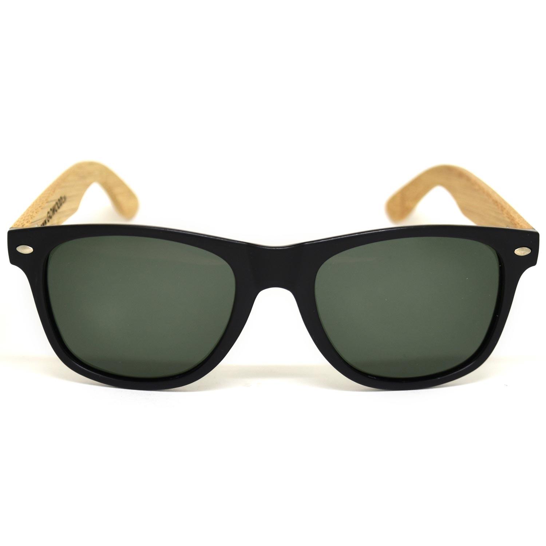 bamboo wood wayfarer sunglasses black lenses front