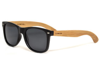 Bamboo wood sunglasses wayfarer style with black polarized lenses