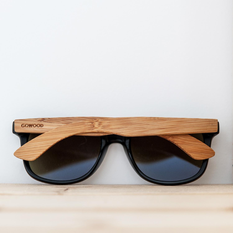 bamboo wood wayfarer sunglasses black lenses