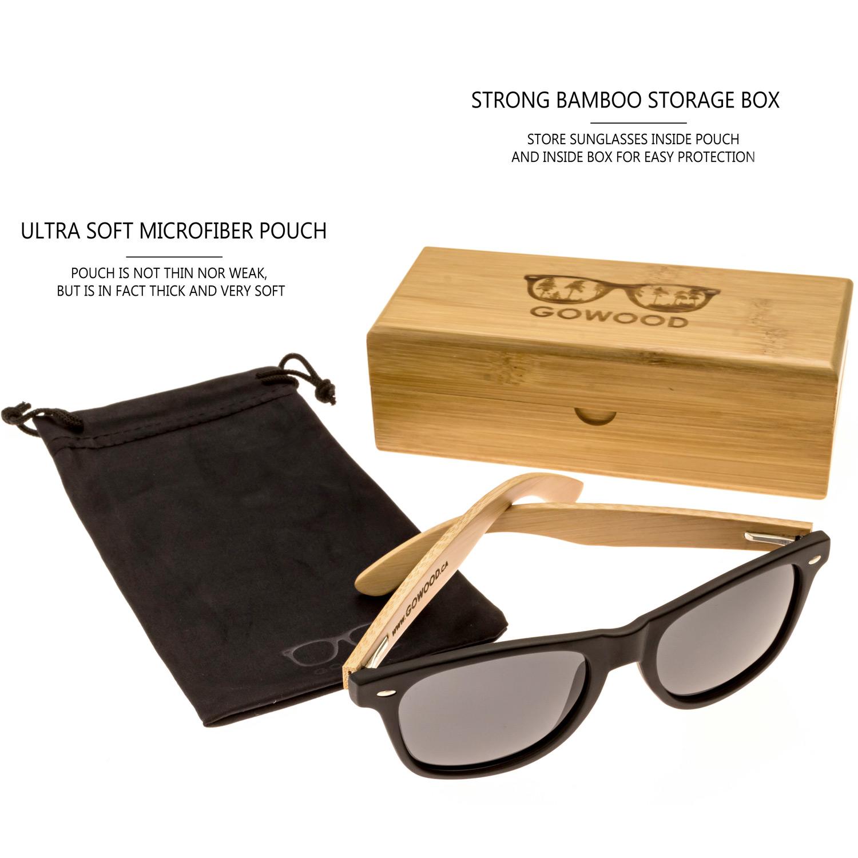 bamboo wood wayfarer sunglasses black lenses package