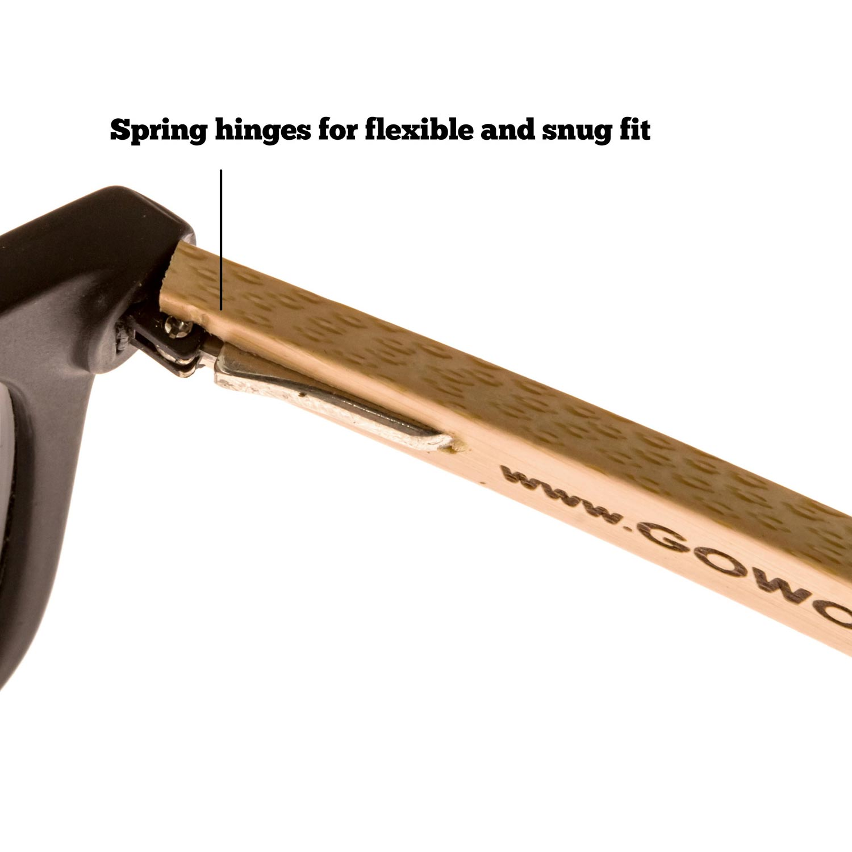 bamboo wood wayfarer sunglasses black lenses hinge