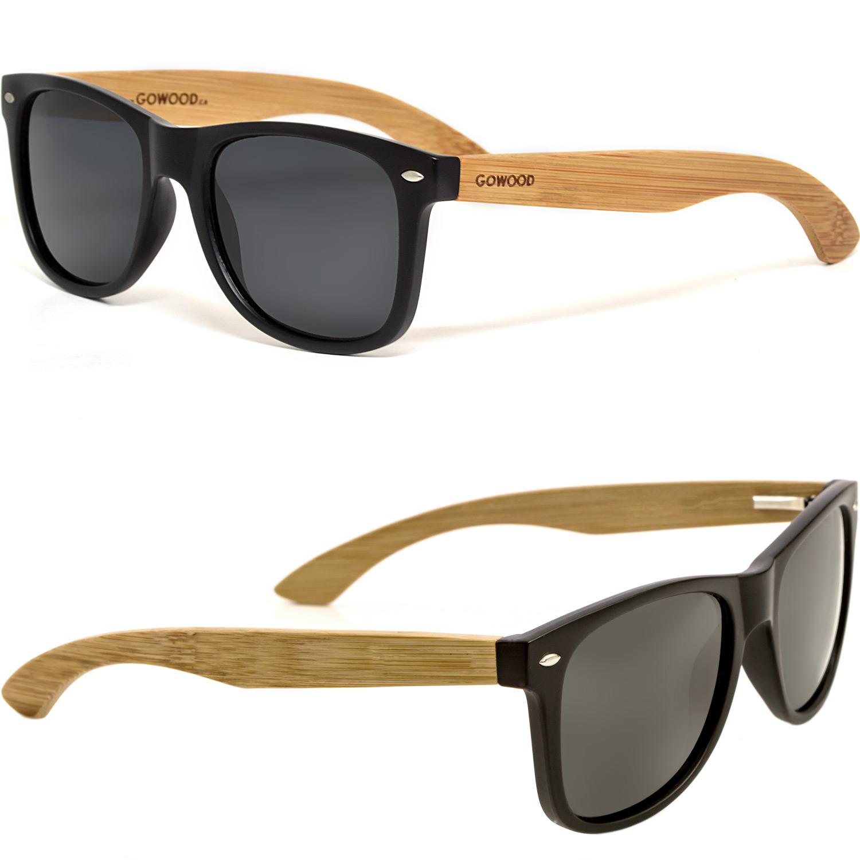 bamboo wood wayfarer sunglasses black lenses sides