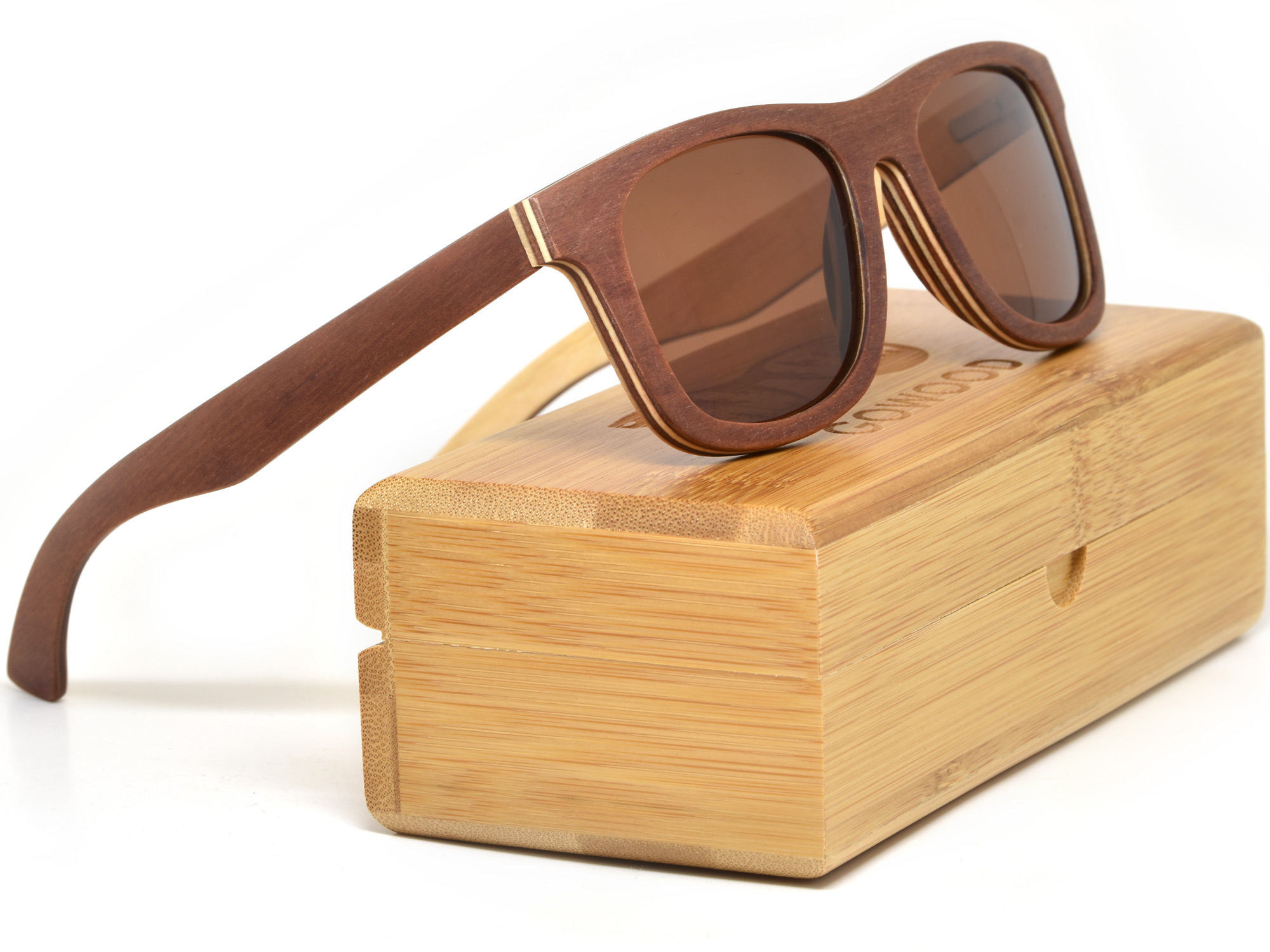 Brown maple wood sunglasses with brown lenses