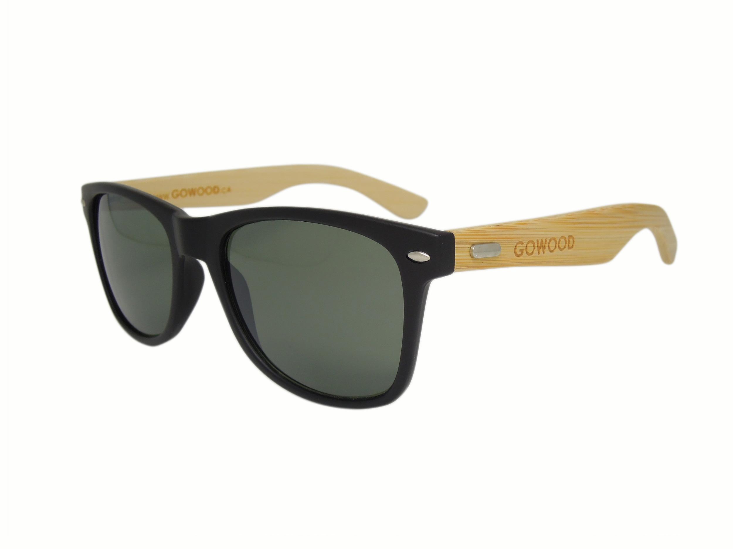 Los Angelesu2019 matt black sunglasses with natural bamboo wooden ...