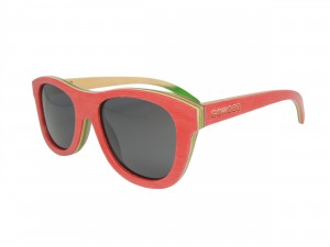 red skateboard wooden sunglasses