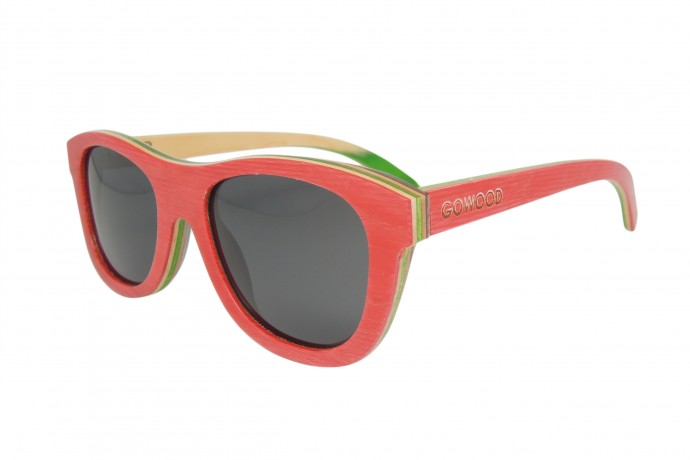 skateboard wood sunglasses in red