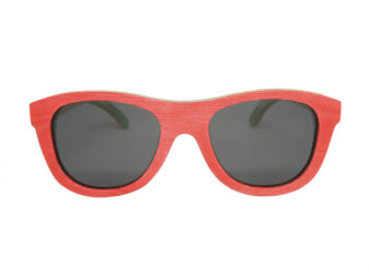 skateboard wood sunglasses in red front