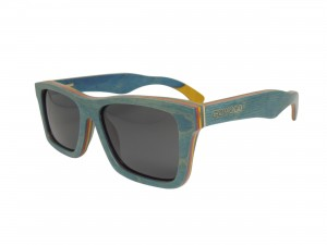 blue skateboard wooden sunglasses