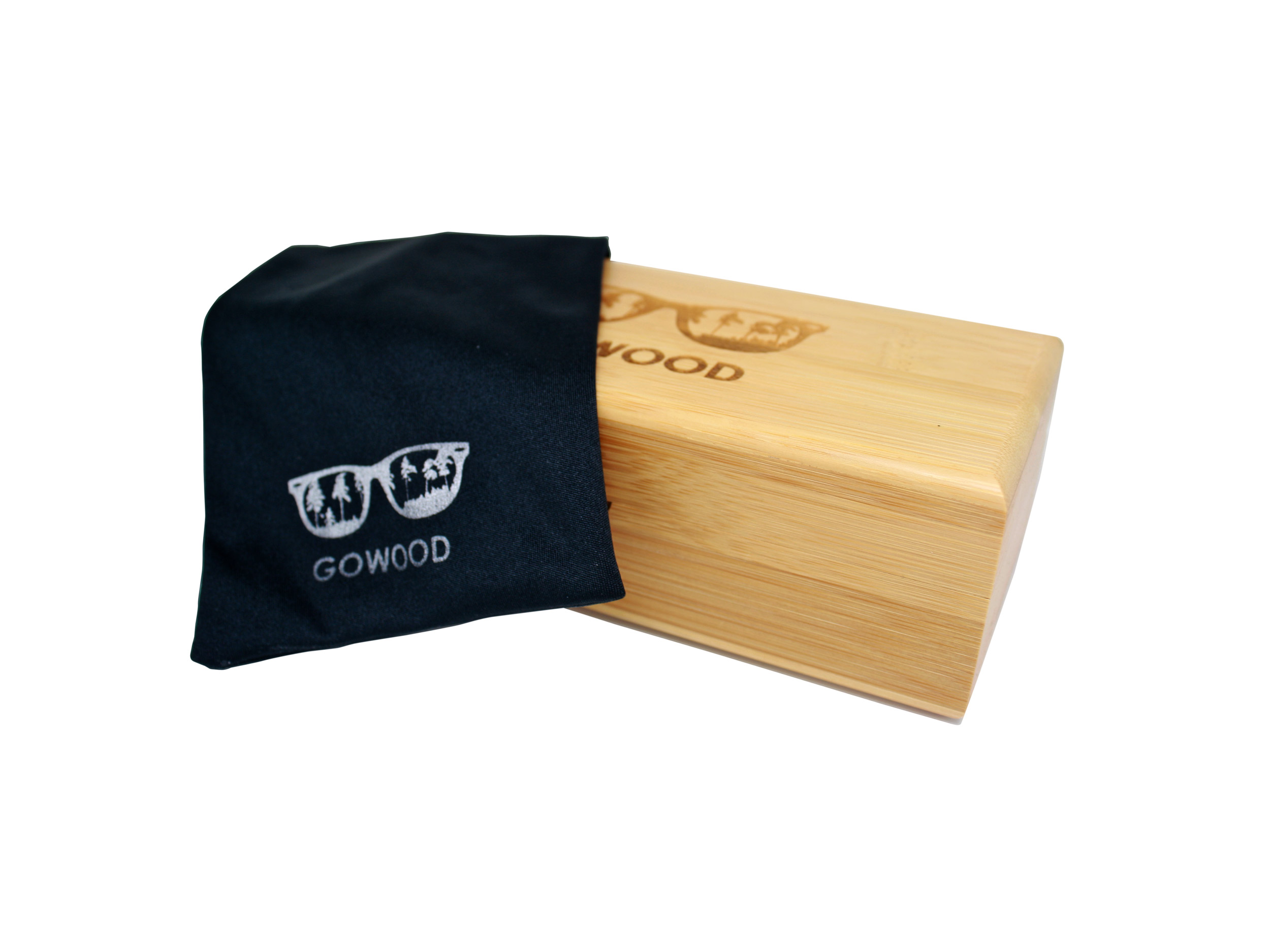 natural bamboo box with microfiber pouch