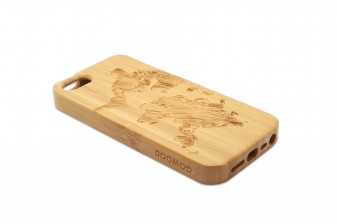 iPhone 5 phone case bamboo world map left
