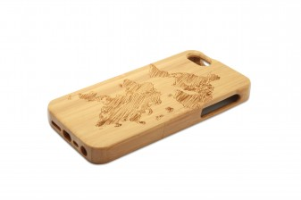 iPhone 5 phone case bamboo world map right