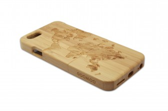 iPhone 6 phone case bamboo world map left