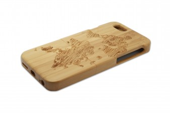 iPhone 6 phone case bamboo world map right