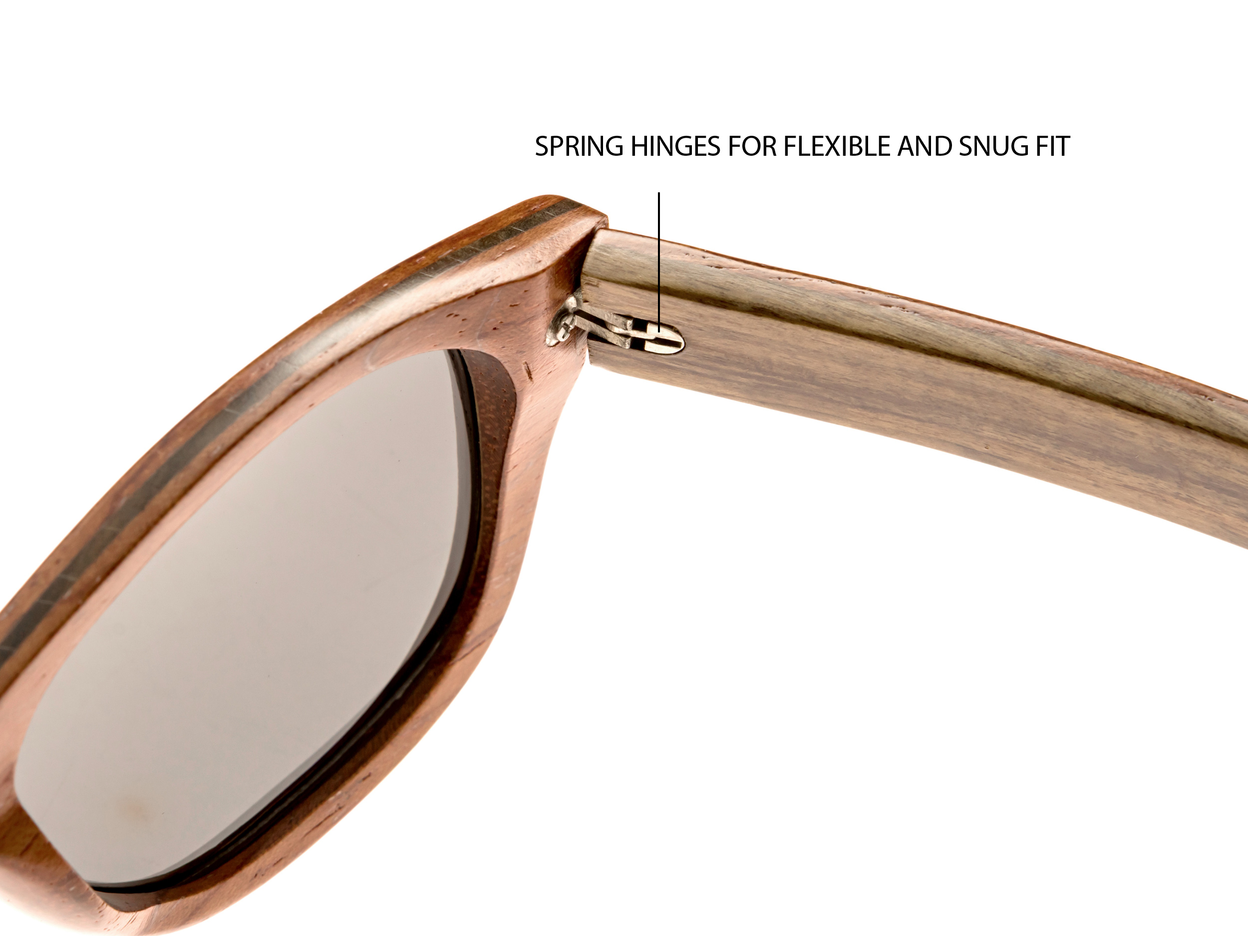Bubinga and ebony wood sunglasses New York - hinge
