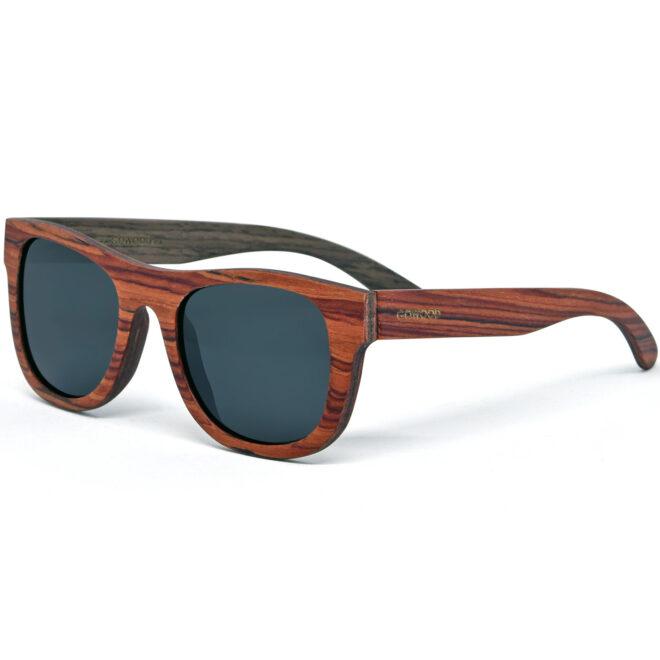 Rosewood walnut wood sunglasses with black polarized lenses
