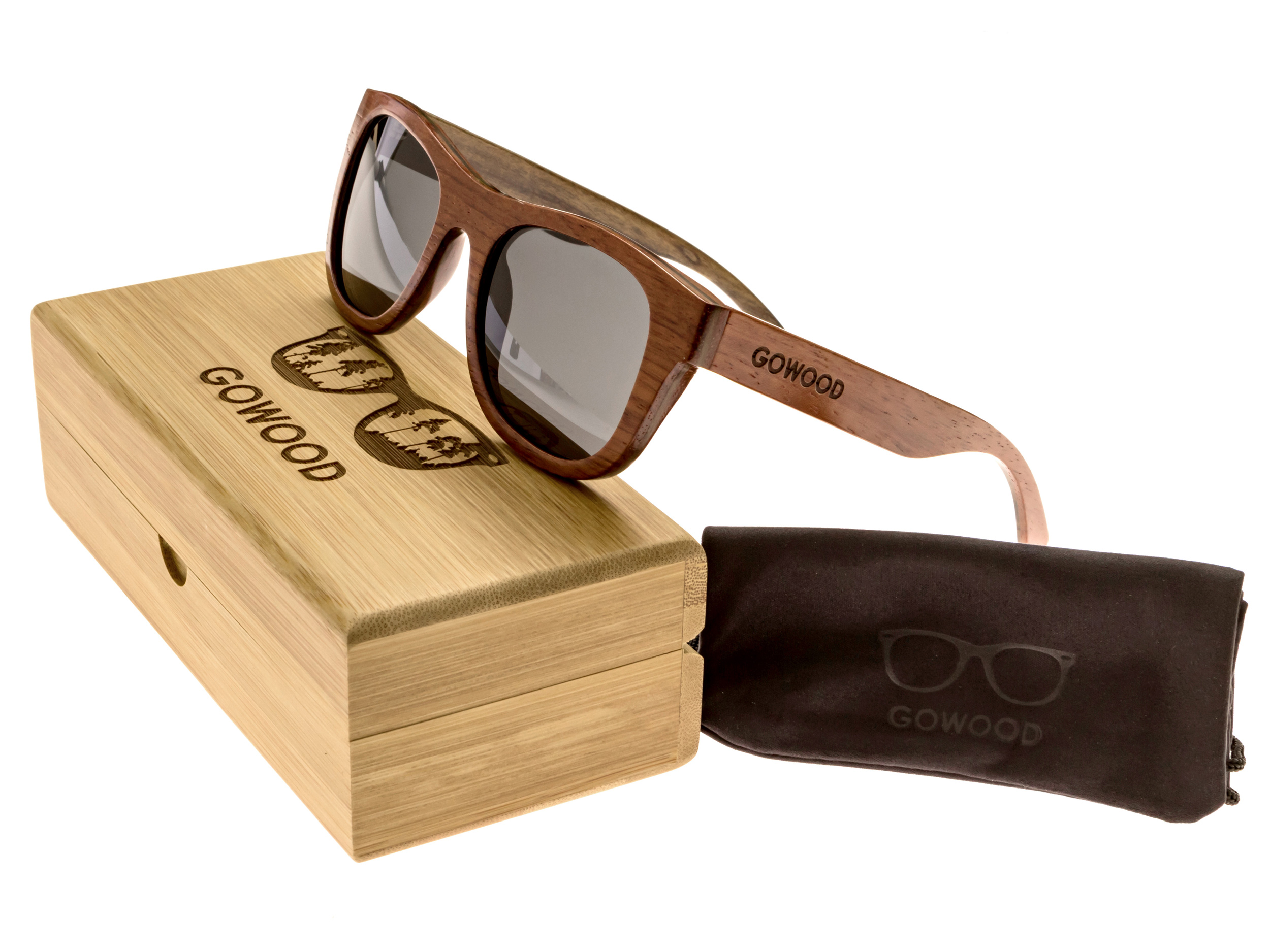 Bubinga and ebony wood sunglasses New York - set