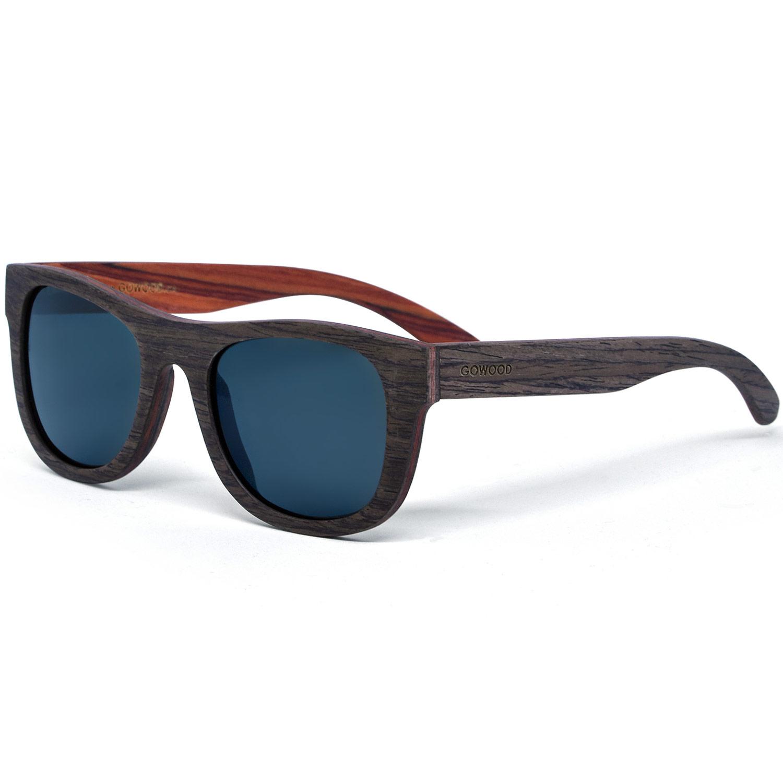 Walnut rosewood sunglasses with black polarized lenses
