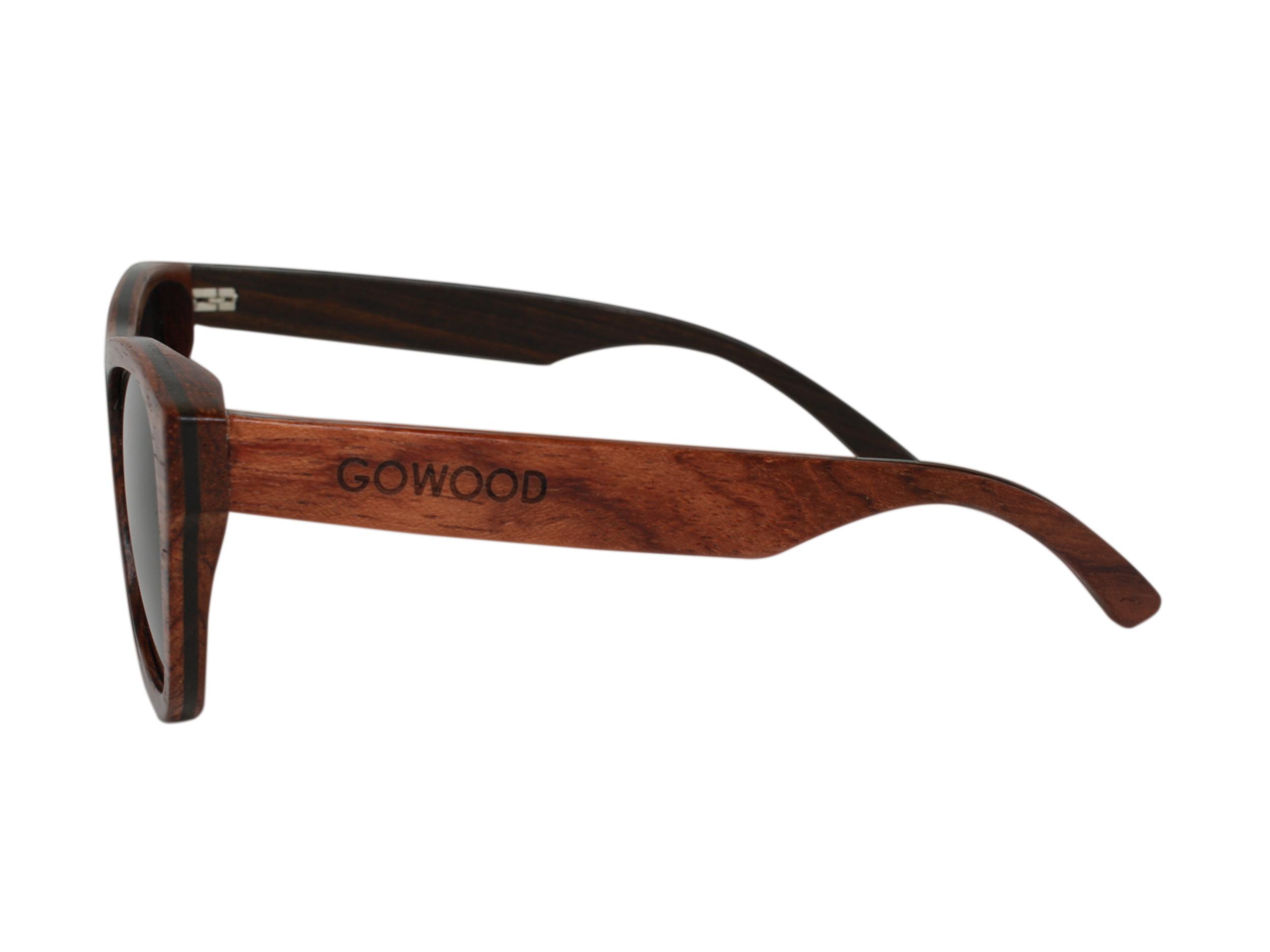 bubinga houten zonnebril linkerkant