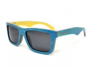 Blue skateboard wood sunglasses