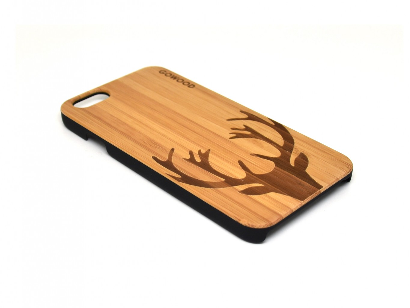 Wood phone cases with polycarbonate sides deer