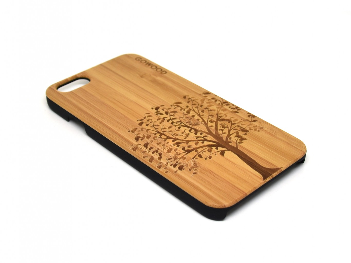 Wood phone cases with polycarbonate sides tree