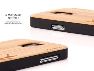 Samsung Galaxy S5 case bamboo deer buttons