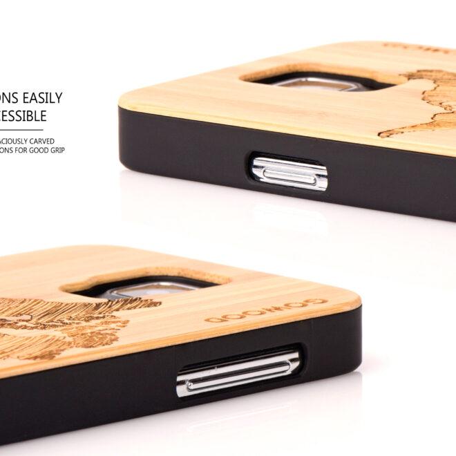 Samsung Galaxy S5 case bamboo world map buttons