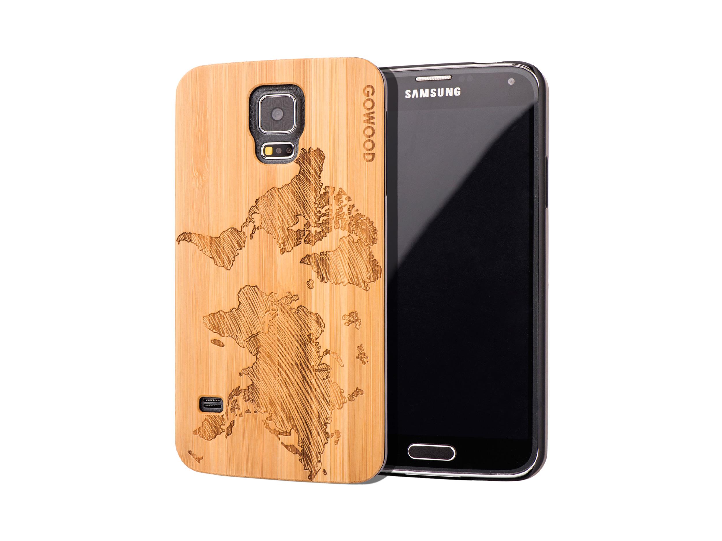 Samsung Galaxy S5 case bamboo world map
