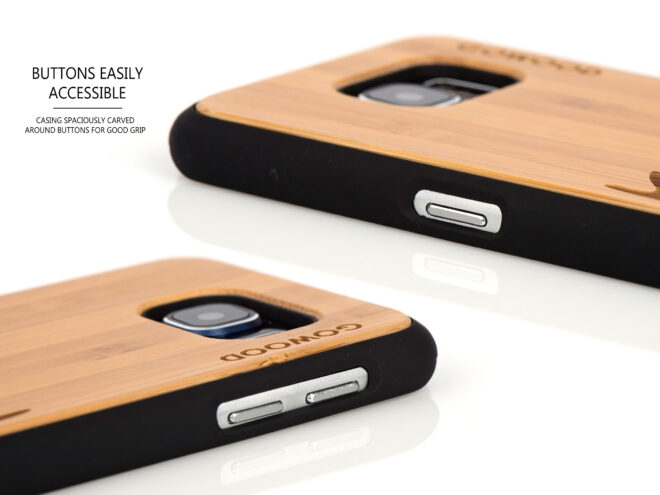 Samsung Galaxy S6 case bamboo deer buttons