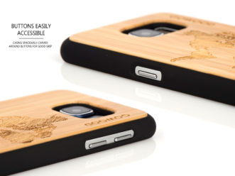 Samsung Galaxy S6 case bamboo world map buttons