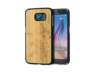 Samsung Galaxy S6 case bamboo world map