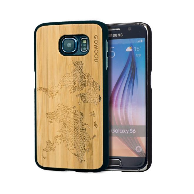 Samsung Galaxy S6 case bamboo world map