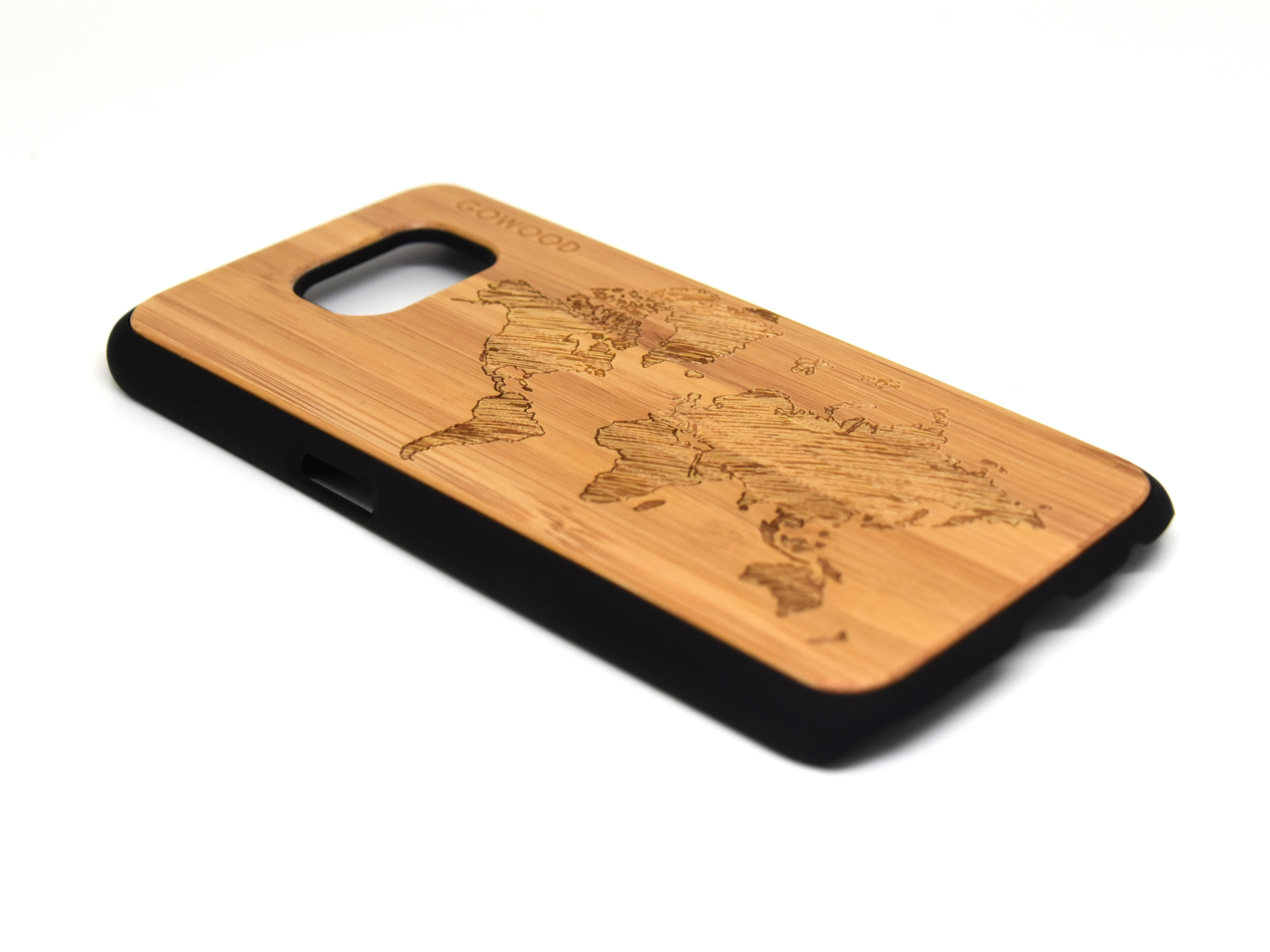 Samsung Galaxy S6 case bamboo wood with world map