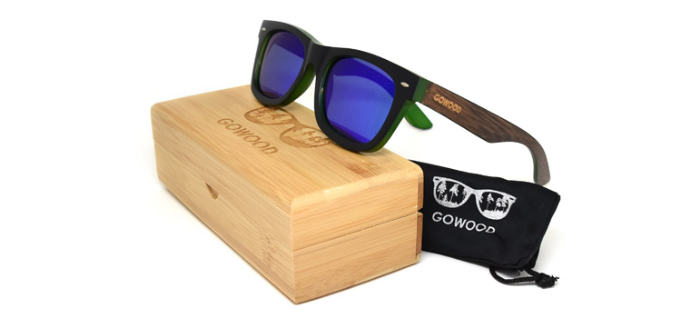 blue mirrored lenses on wayfarer sunglasses