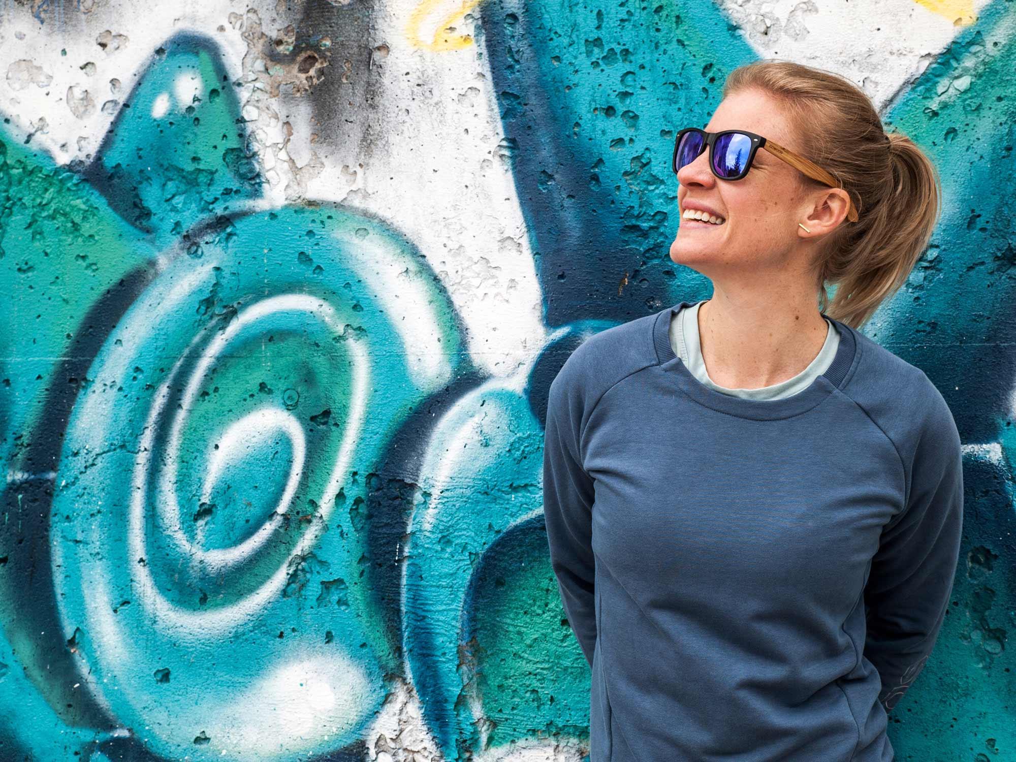 bamboo wood sunglasses wayfarer style with blue mirrored polarized lenses