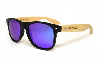 Classic wayfarer sunglasses with blue lenses angle