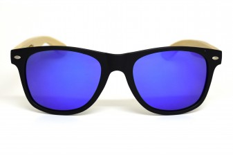 Classic wayfarer sunglasses with blue lenses front