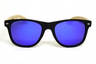 Classic wayfarer sunglasses with blue lenses front