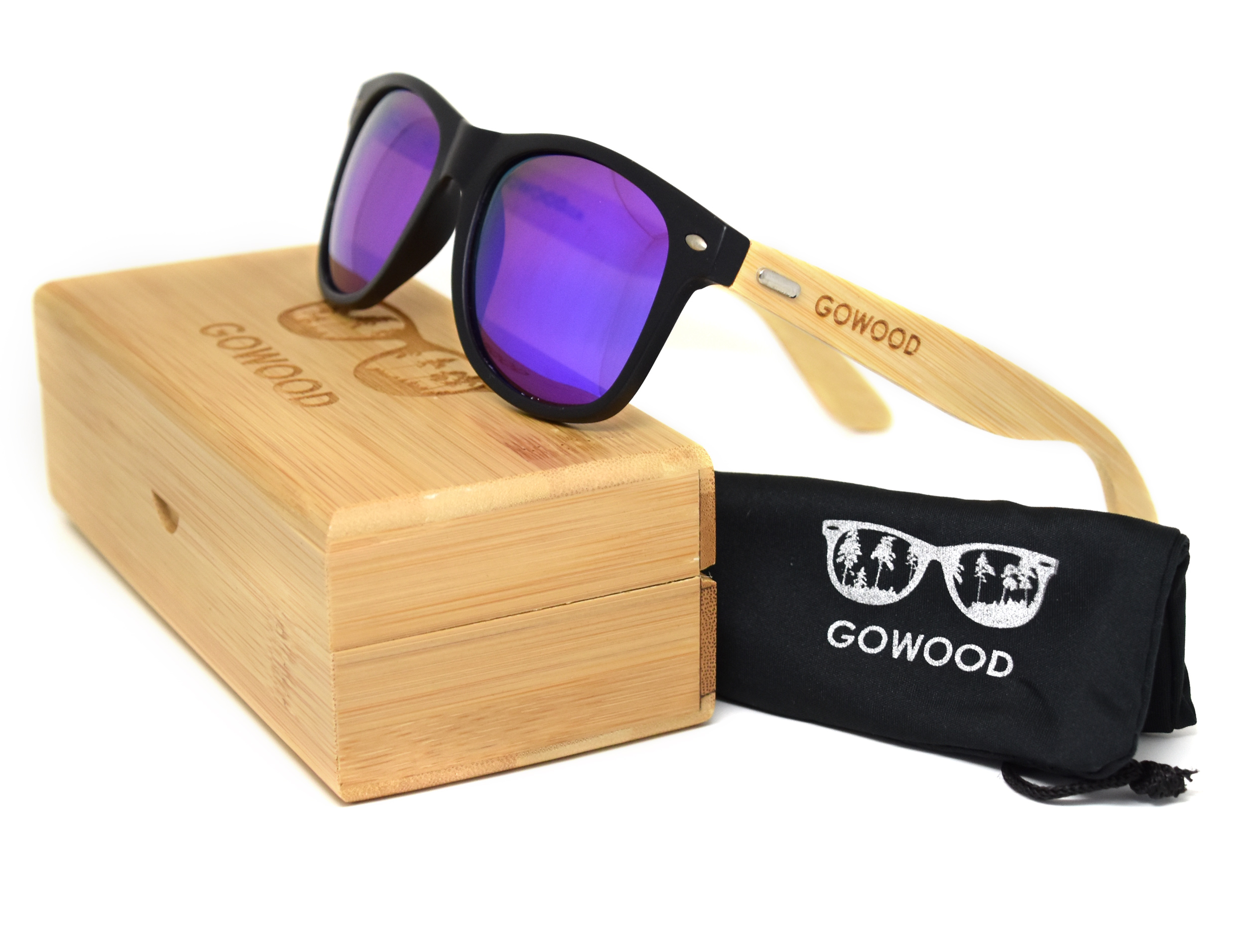 Wayfarer zonnebril met blauw gespiegelde glazen overzicht