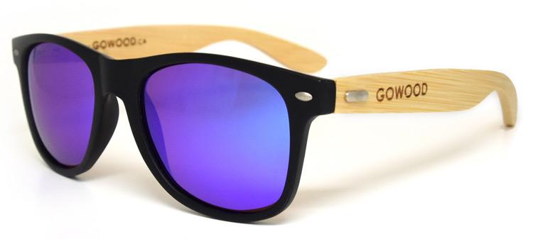 Lunettes de soleil wayfarer avec verres miroirs bleu go wood for Lunette soleil verre bleu miroir