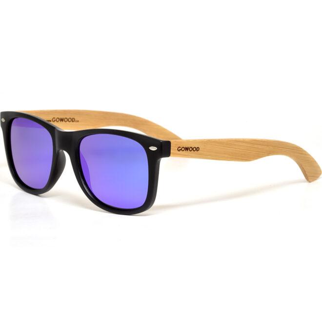 Bamboo wood wayfarer sunglasses blue lenses