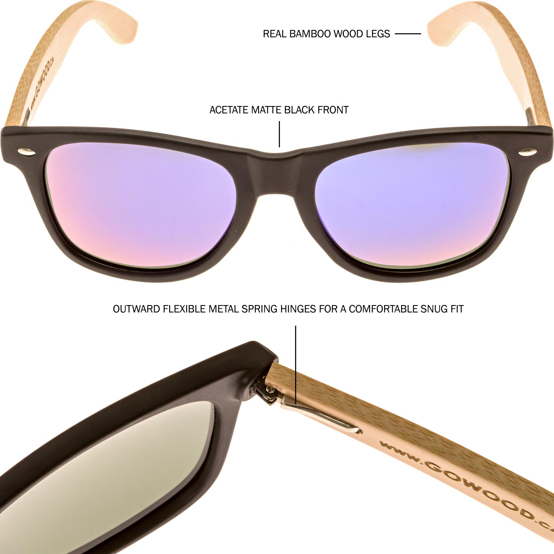 Bamboo wayfarer sunglasses blue lenses sides