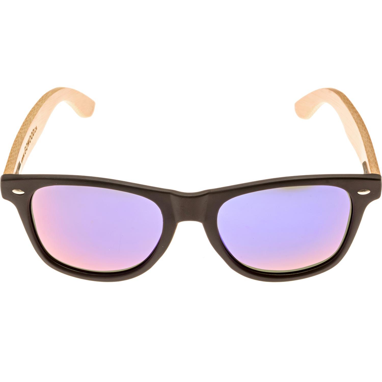 Bamboo wood wayfarer sunglasses blue lenses front view