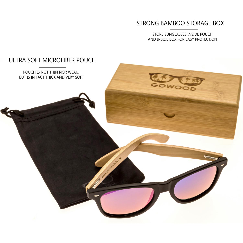 Bamboo wood wayfarer sunglasses blue lenses model set