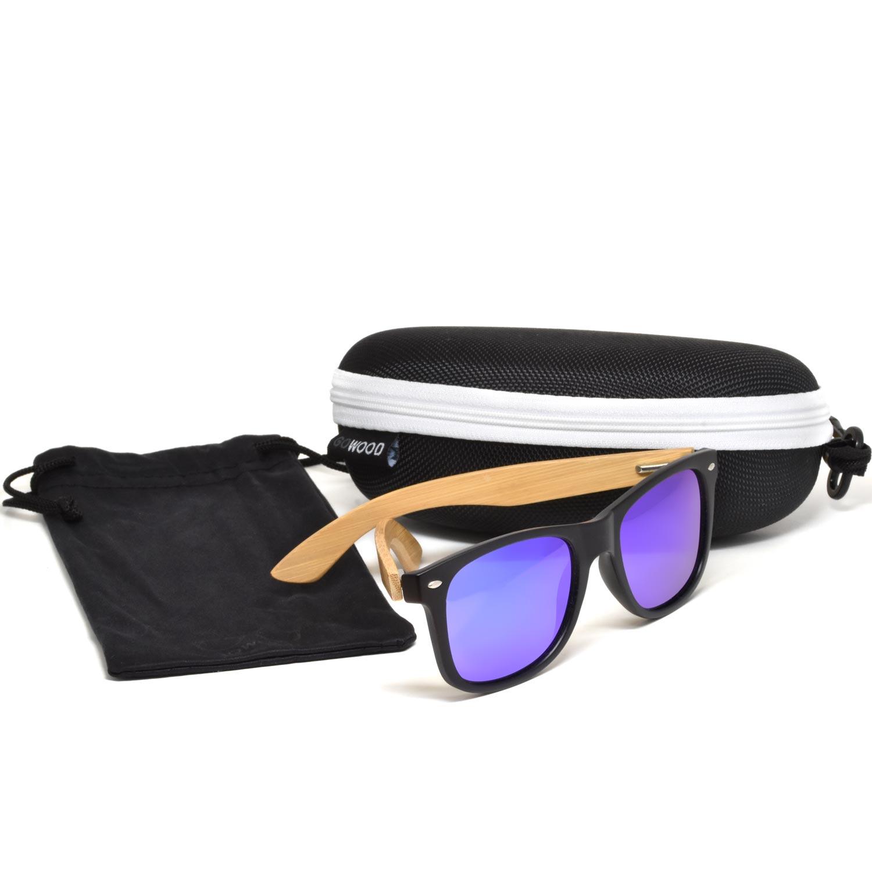 Bamboo wood wayfarer sunglasses blue lenses zipper case set