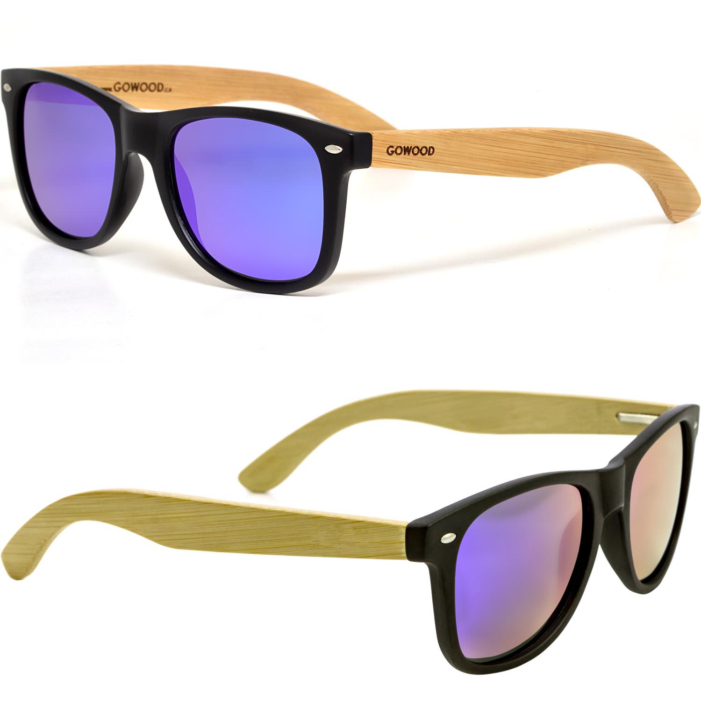 Wooden wayfarer sunglasses blue lenses sides