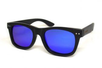 Wayfarer sunglasses black with blue mirrored lenses Bangkok III angle
