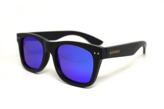 Wayfarer sunglasses black with blue mirrored lenses Bangkok III angle